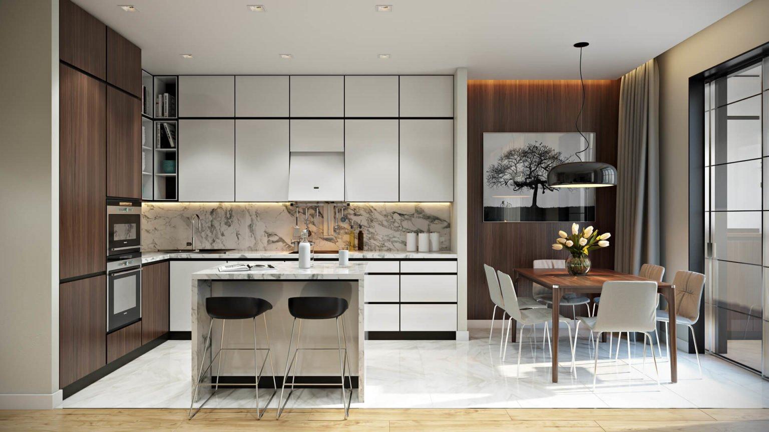 Кухонный гарнитур с удобными выдвижными ящиками