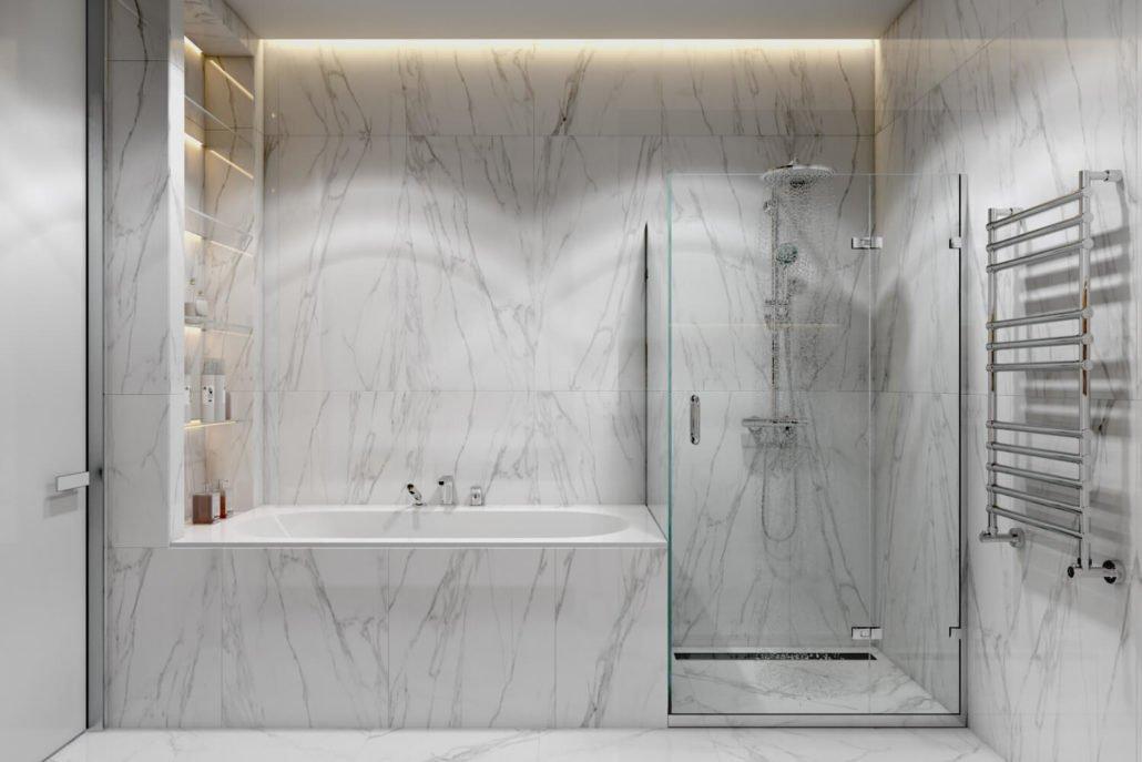 Система полочек для хранения в ванной комнате