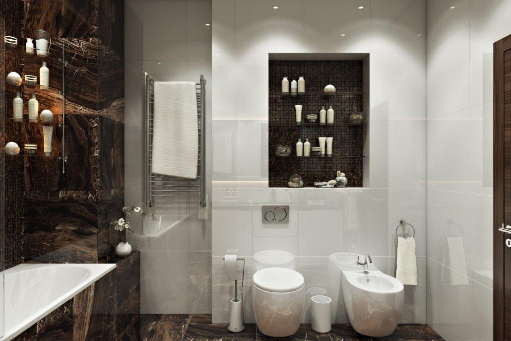 Хранение в нишах в ванной комнате