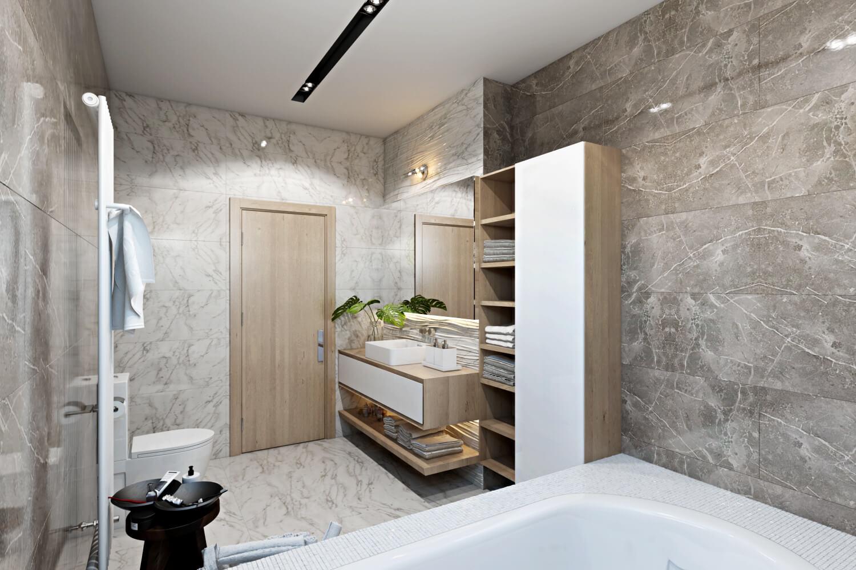 Отдельностоящий стеллаж в интерьере ванной