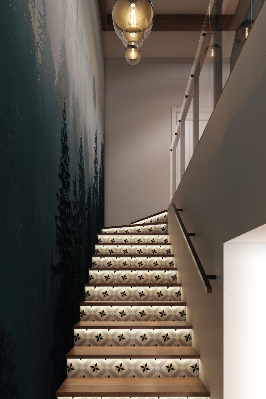 Дизайн лестницы в частном доме из современных материалов