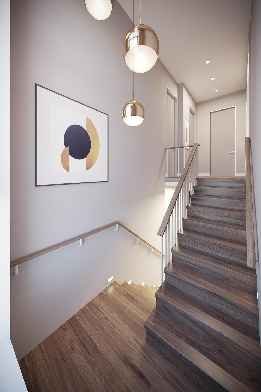 Красиво освещенная лестница в доме