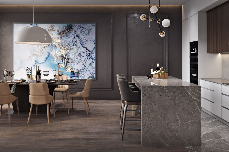 Элегантный интерьер кухни-гостиной