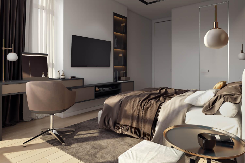 Дизайн интерьера уютной спальни с рабочим местом