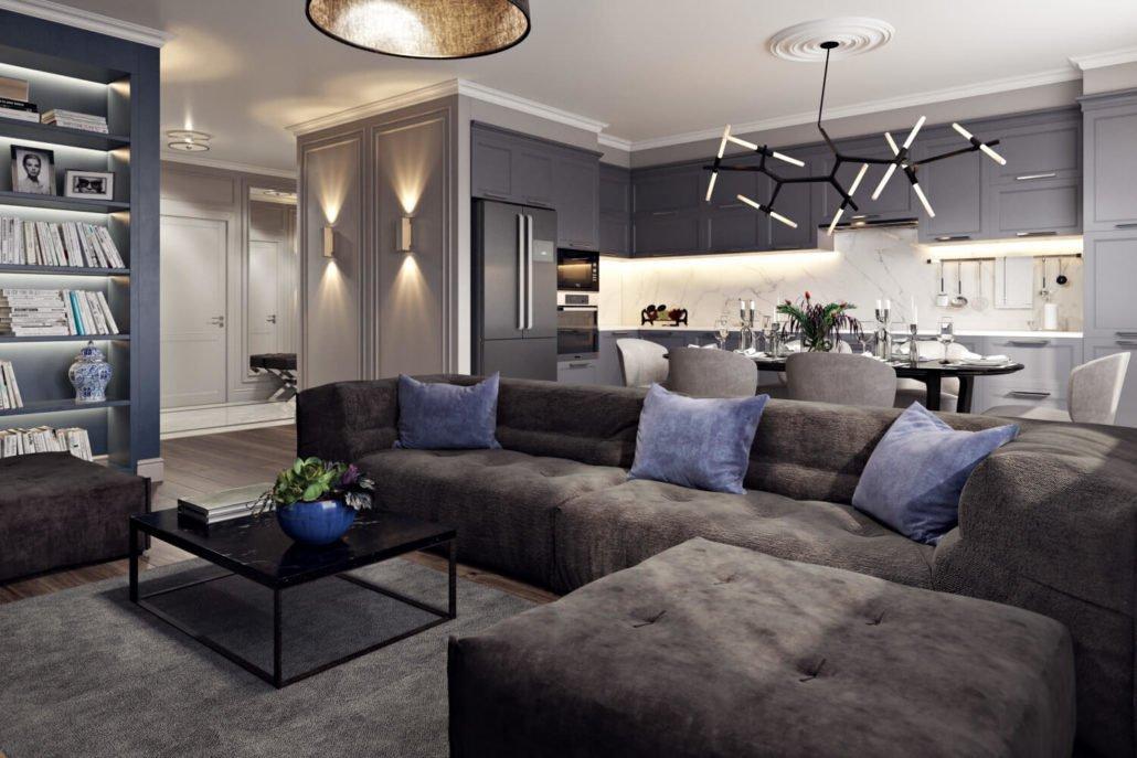 Интерьер просторной кухни-гостиной