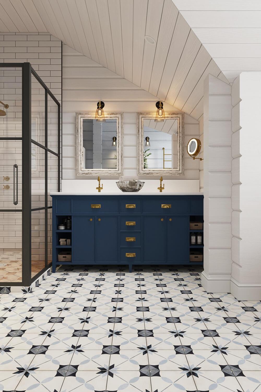 Установка стильной раковины в ванной