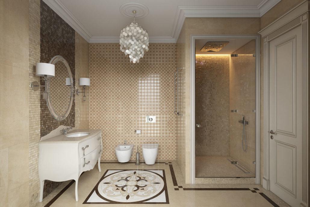 Раковина в интерьере классической ванной
