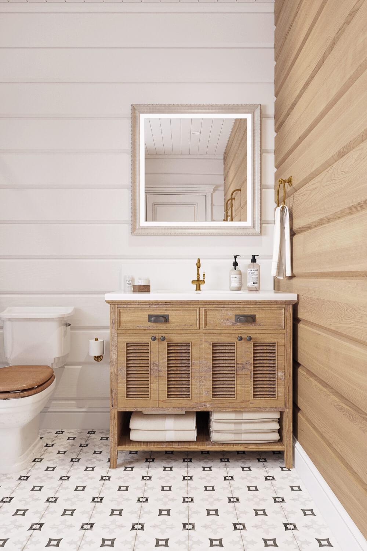 Монтаж раковины в просторной ванной