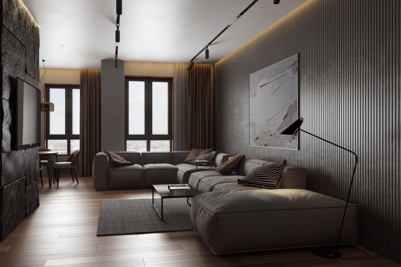 Уютный дизайн гостиной в темных тонах