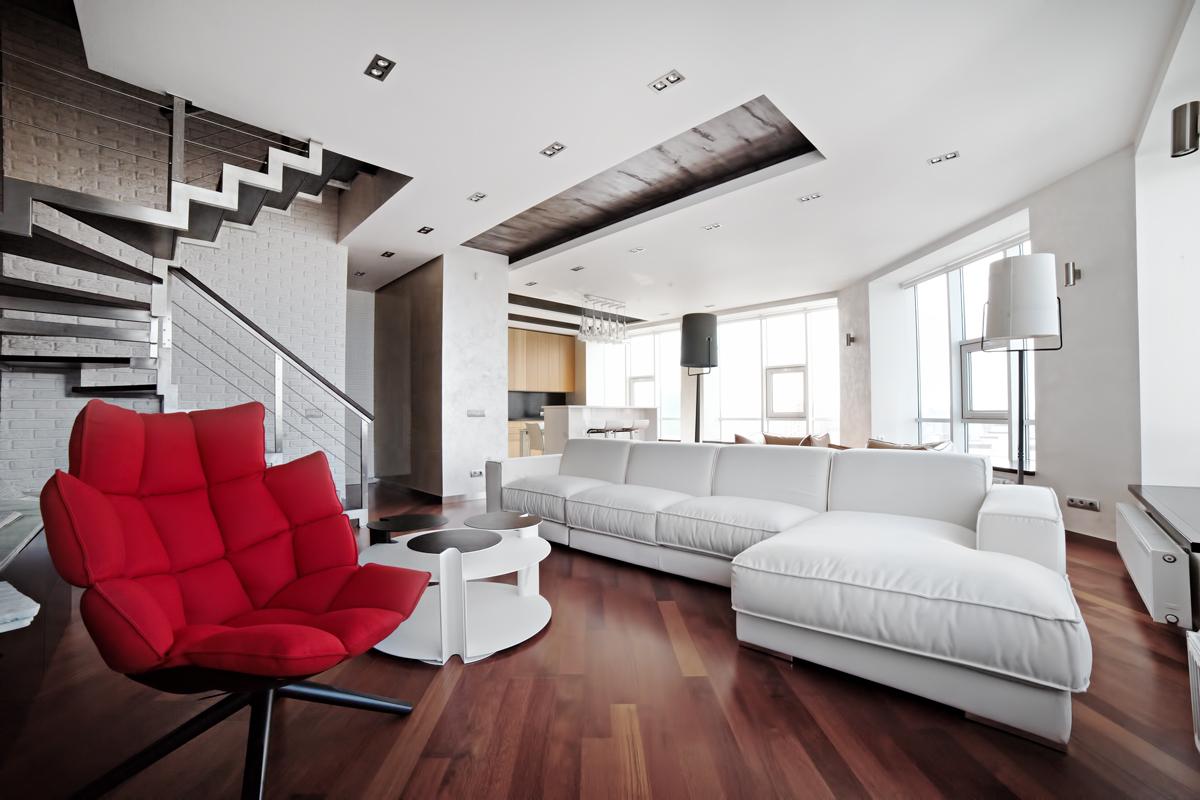 Яркие акценты в дизайне гостиной