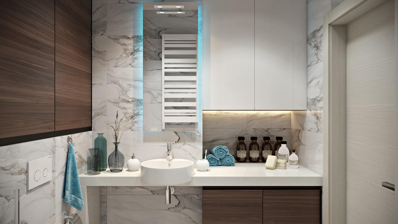 Мрамор и дерево в дизайне ванной комнаты