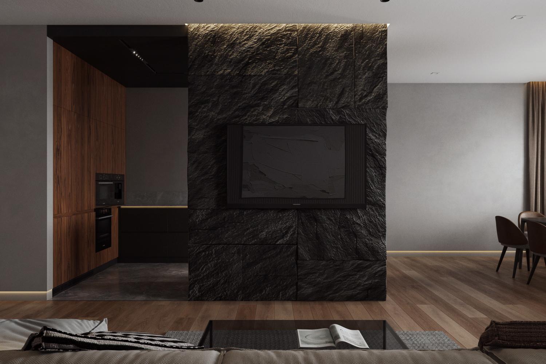 ТВ на перегородке в кухне-гостиной