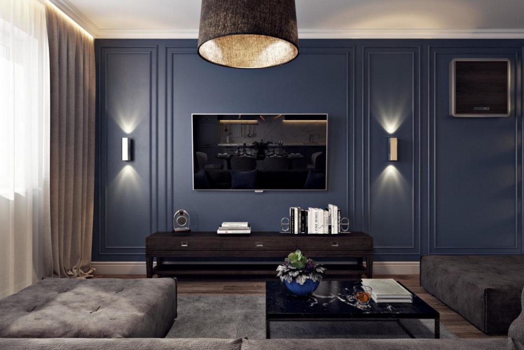 ТВ зона в гостиной в синих тонах