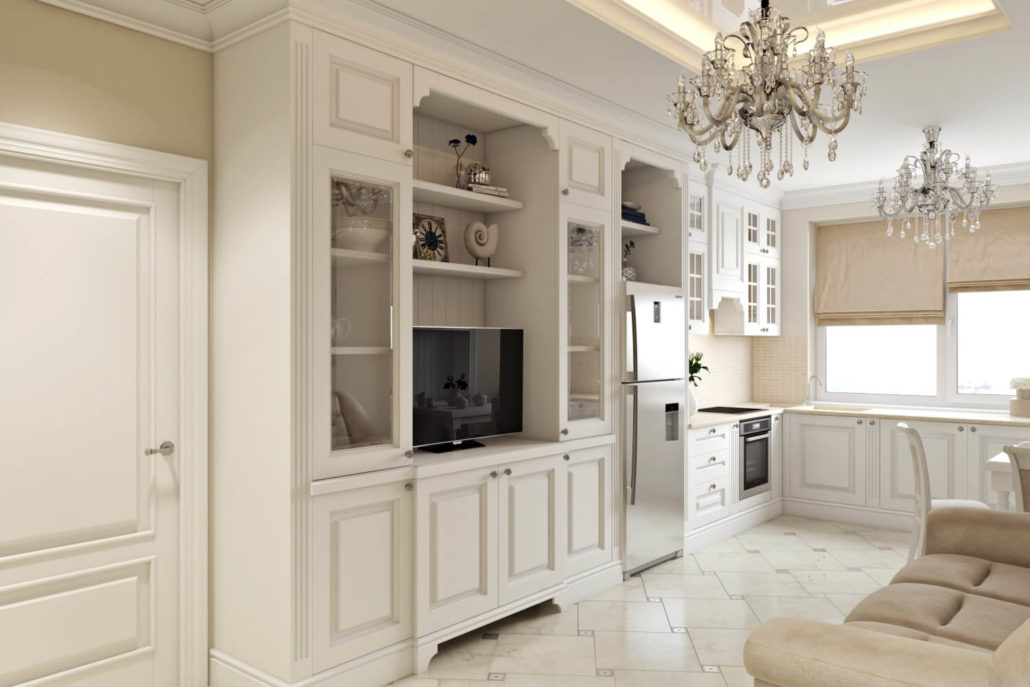 Телевизор в светлой кухне-гостиной
