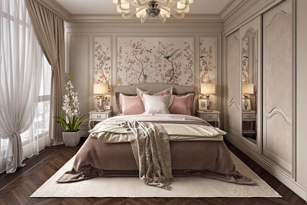 Интерьер спальни, созданный опытным дизайнером