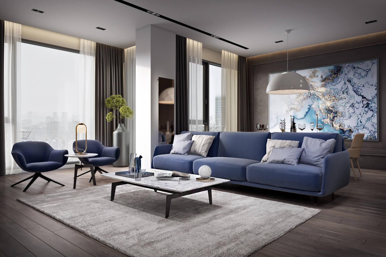 Эффектное освещение в просторной гостиной