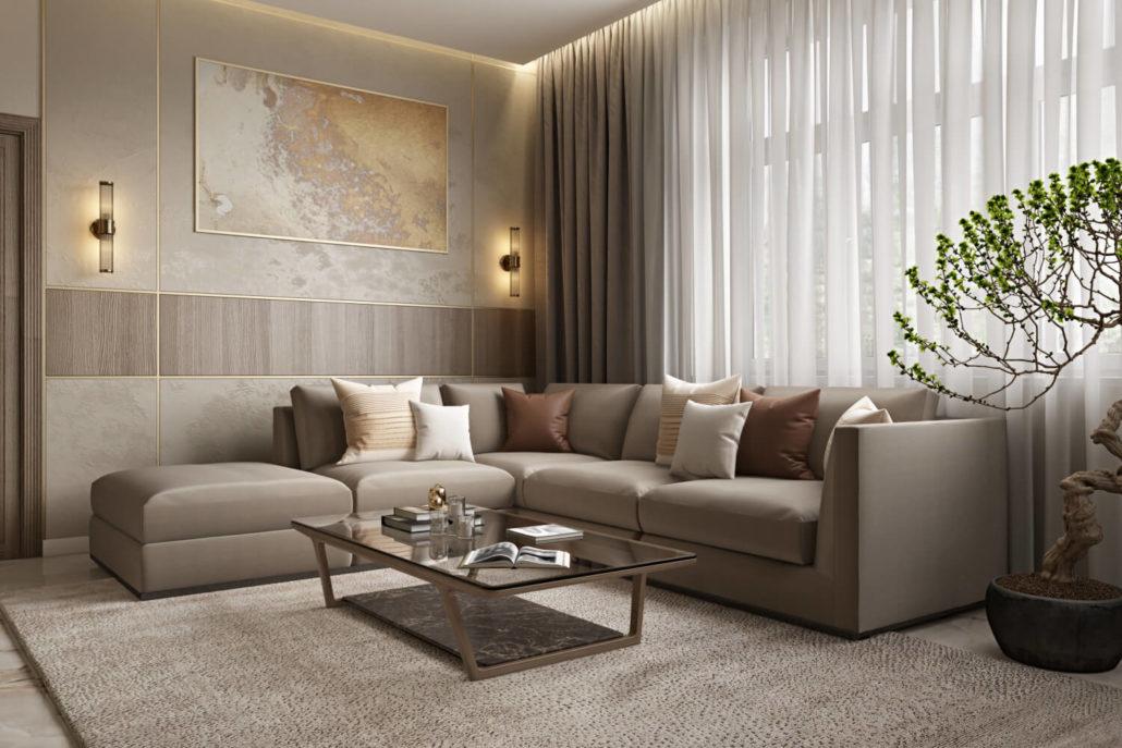 Теплое освещение в современной гостиной